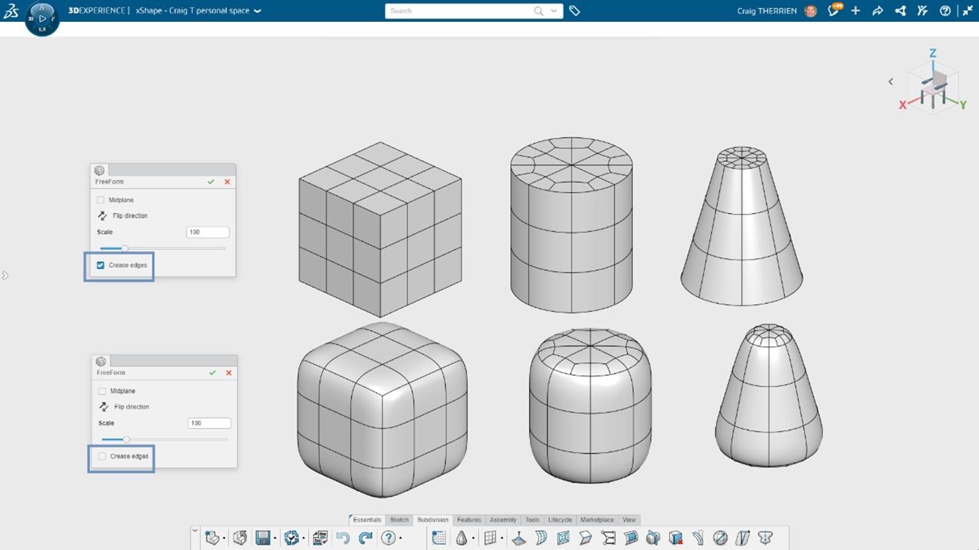3D Sculptor Darstellung primitiver Formen mit geknickten Kanten
