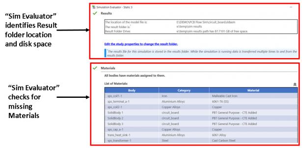 """Texte im Bild: """"Sim Evaluator"""" identifiziert den Speicherort des Ergebnisordners und den Festplattenspeicherplatz / """"Sim Evaluator"""" prüft auf fehlende Materialien"""