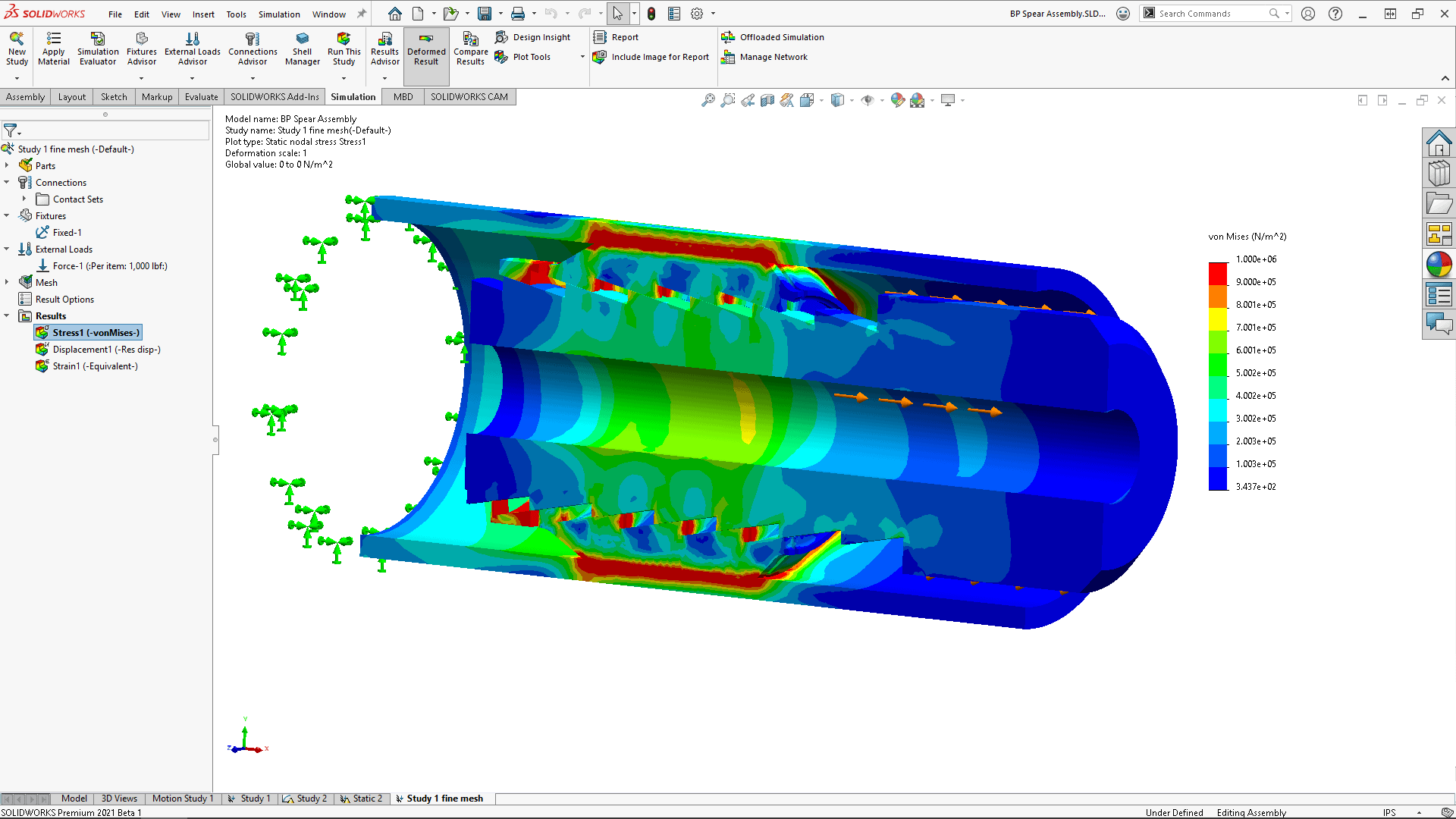 SOLIDWORKS Simulation 2021 Screenshot von Simulationsmodell mit zahlreichen Kontaktelementen