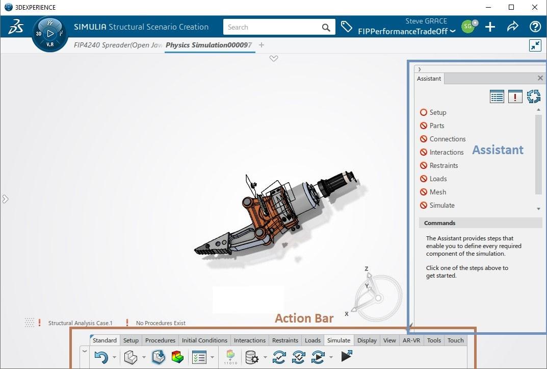 Screenshot: Structural Scenario Creation App mit dem Simulationsassistent und der Action Bar