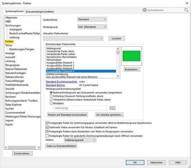 Defeature Silhouette Feature_Systemoptionen Farben