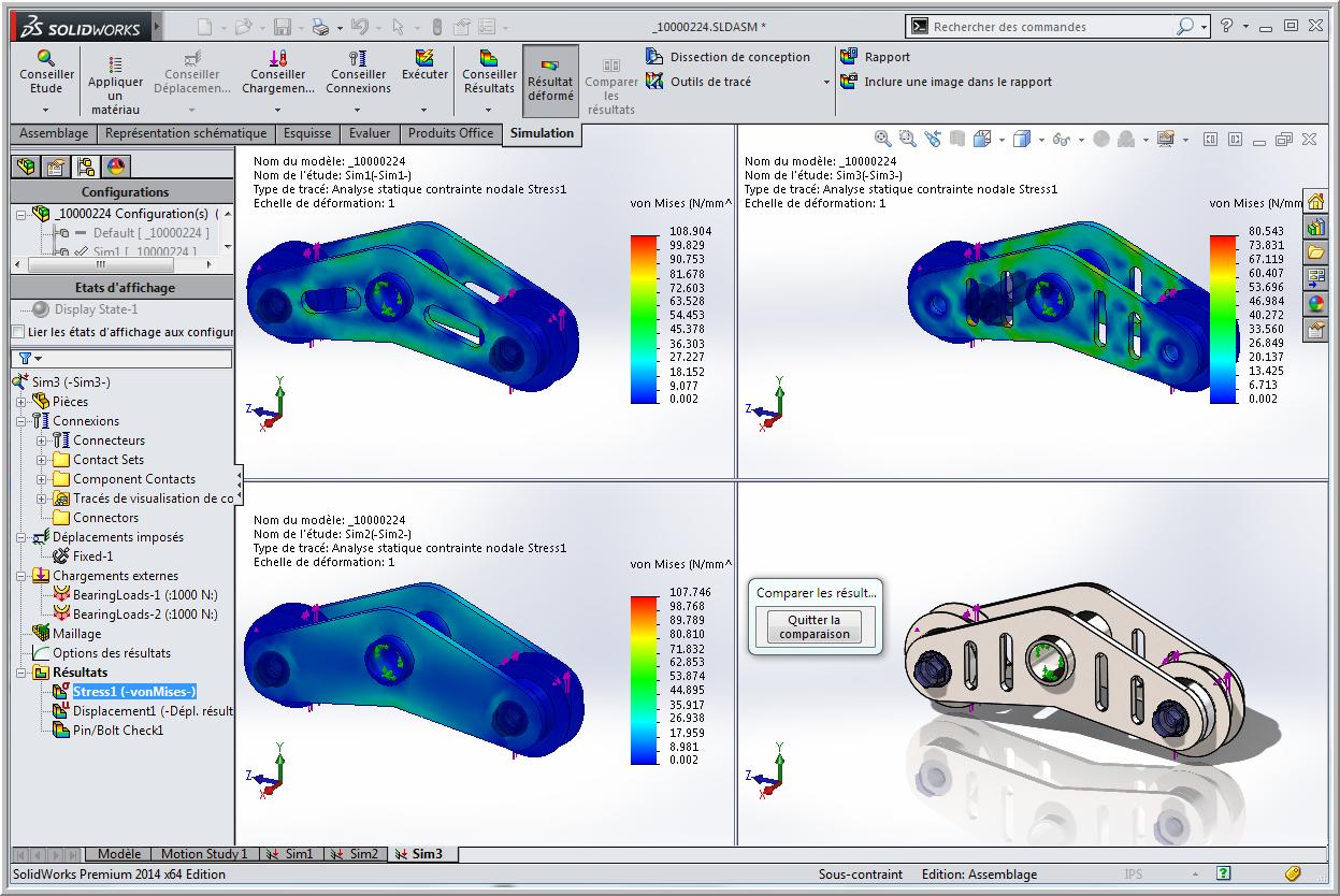 Comparer les résultats de Simulation avec les configurations
