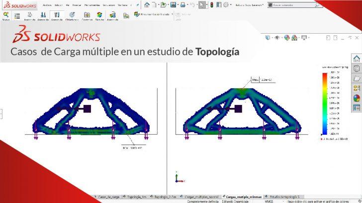 "Casos de carga múltiple en un estudio de topología ""SolidWorks Simulation Profesional"""