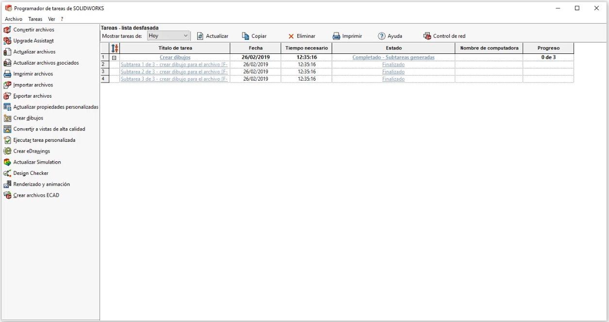 Lista de tareas pendientes. Programador de tareas.