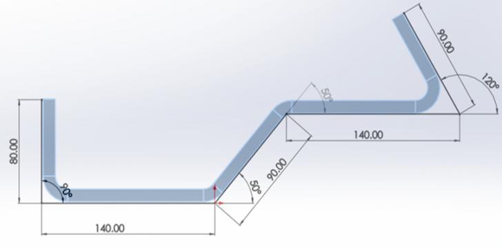 Chapa Metálica en SOLIDWORKS, cálculo del desarrollo del plegado