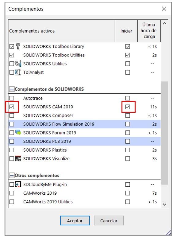 Activación de complementos con SOLIDWORKS CAM