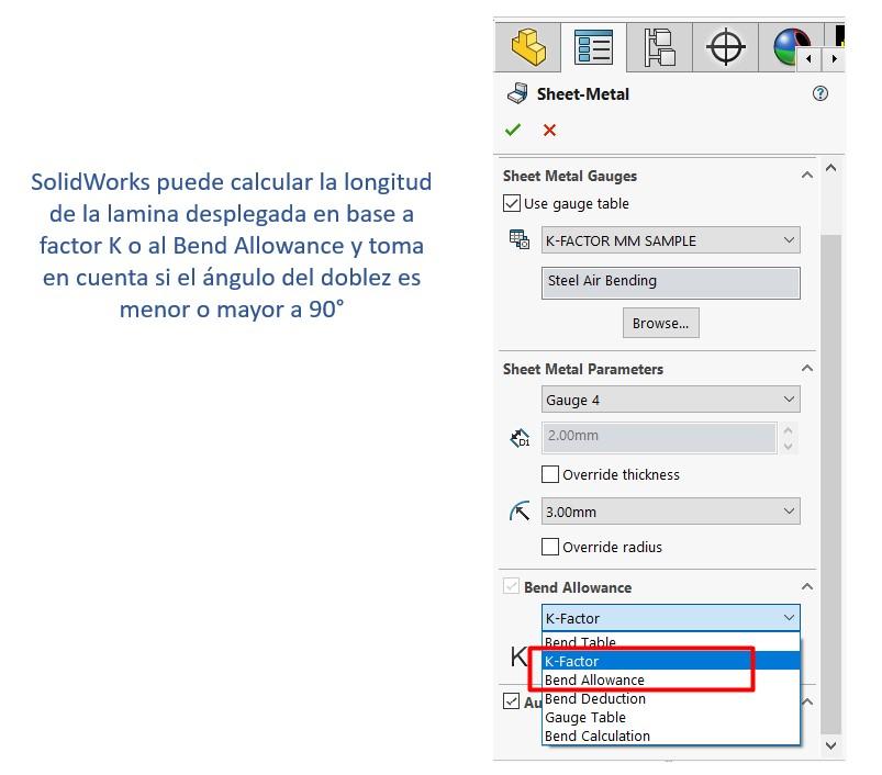 Activación de factor K con SOLIDWORKS