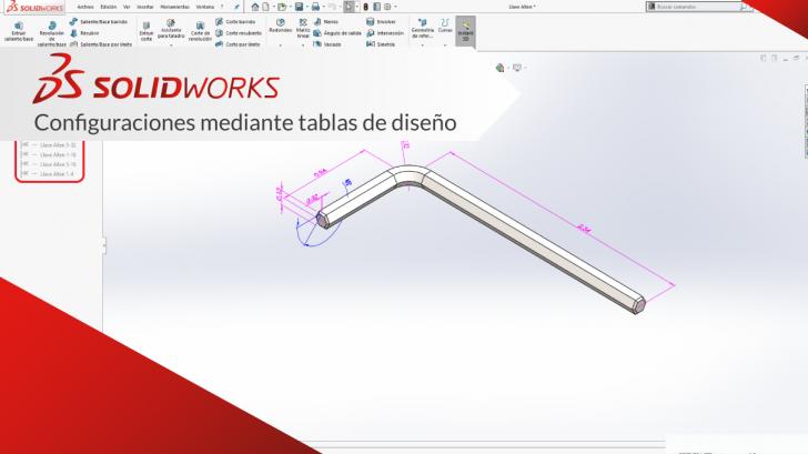 """Configuraciones mediante tablas de diseño """"SolidWorks CAD"""""""