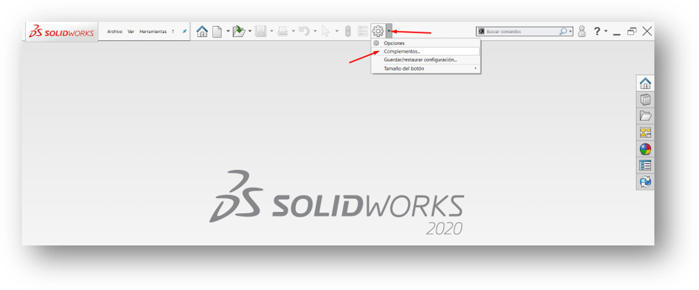 Abrir complementos en SolidWorks