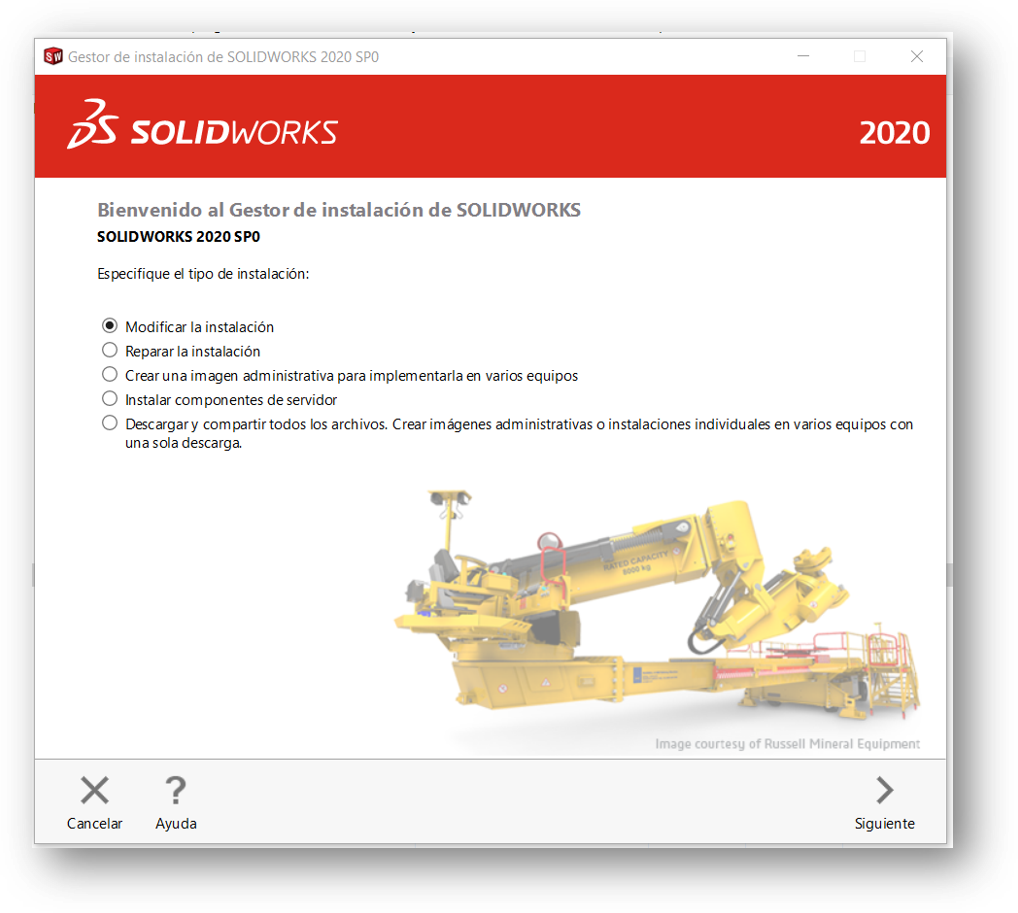 Modificar instalación de SolidWorks