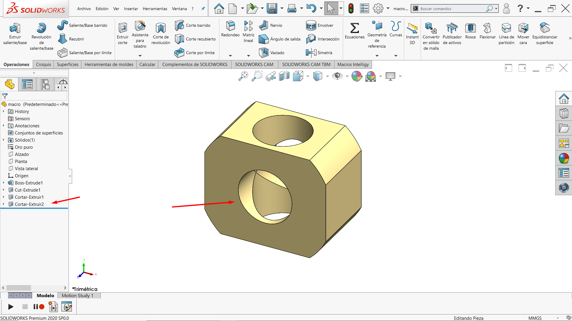 Corte circular creado con una macro en SOLIDWORKS