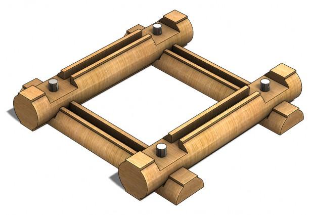 Assembled Logs for Base of Log Cabin