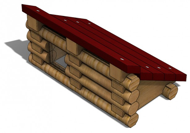 Type 2 Roof Support in Log Cabin Assembly
