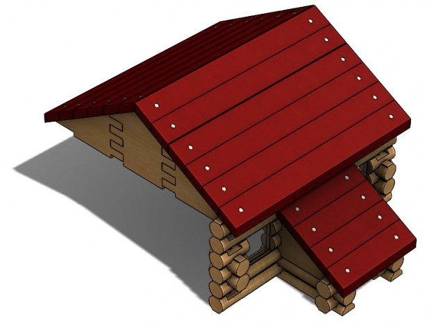 Large Roof Support for Log Cabin Assembly