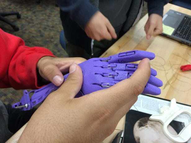 A 3D printed prosthetic hand. Image credit: Ed Hernandez