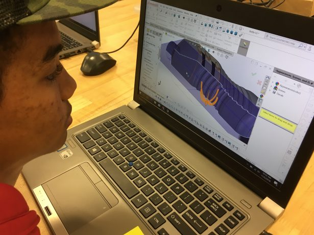 Ed's student using SOLIDWORKS