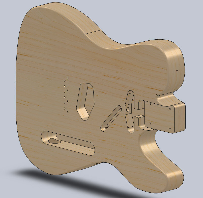 Telecaster Guitar Body in SolidWorks
