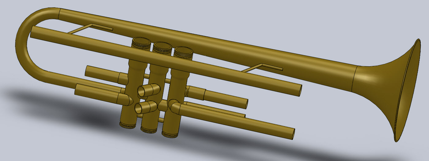 Main Trumpet Body in Solidworks
