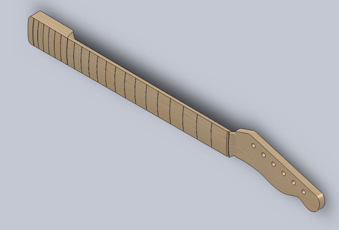 Telecaster Guitar Neck in SolidWorks