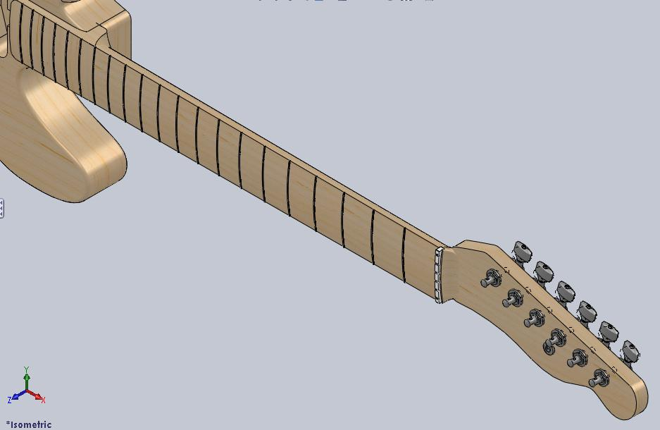 Complete Telecaster Guitar Neck in SolidWorks