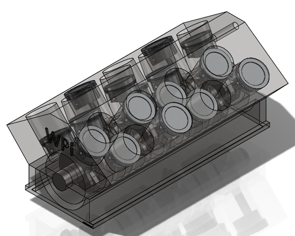 W16 Block Pistons Crankcase Crankshaft Assembly Solidworks