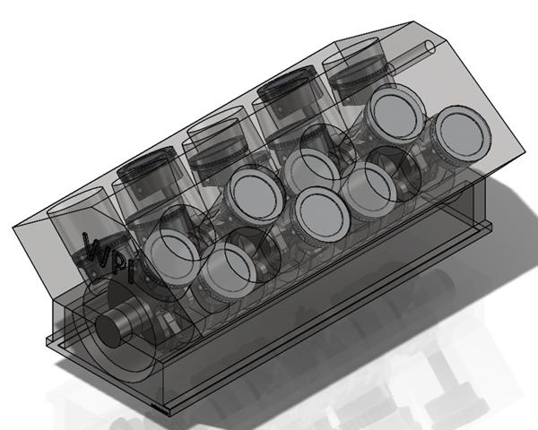 W16 Block Pistons Crankcase Crankshaft Assembly Solidworks