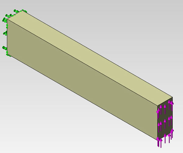 Cantilever beam applied force