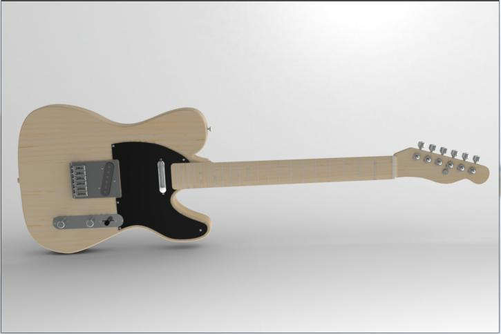 Completed Telecaster Guitar in SolidWorks
