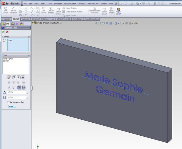 SolidWorks Sketch Text 1