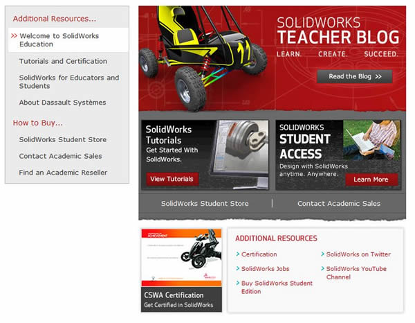 SolidWorks Education Facebook Welcome Page