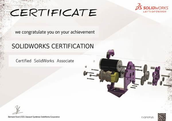 Certified SolidWorks Associate Certificate 1