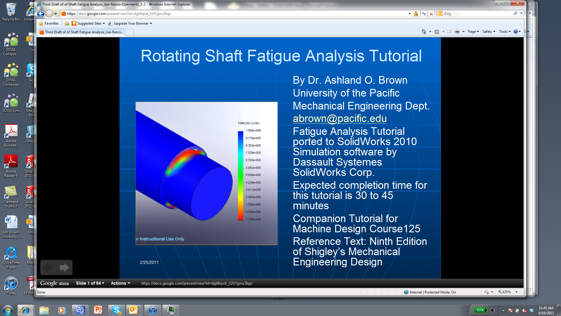 Finite Element Analysis Tutorials in SolidWorks through NSF Grant