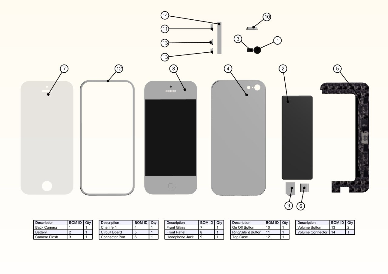 Assembly Of The Iphone 5 Using Solidworks Composer Camera Flash Circuit Diagram Exploded View