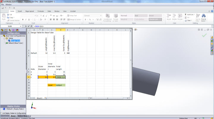Design Table Solidworks drawing with size table Linking Data From Microsoft Excel To A Solidworks Model
