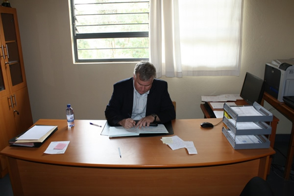 Mark at Desk at ETO Gitarama