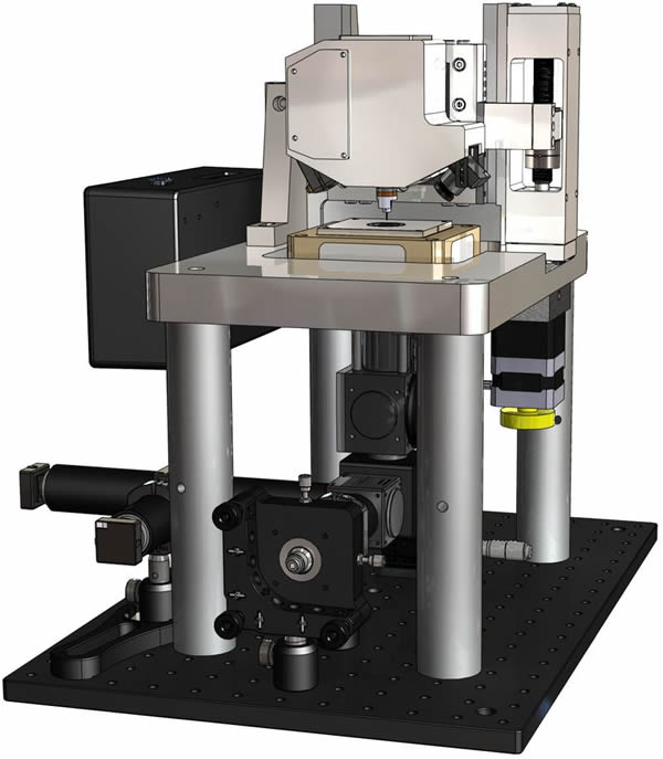 SolidWorks model of inverted optical microscope with AFM capabilities