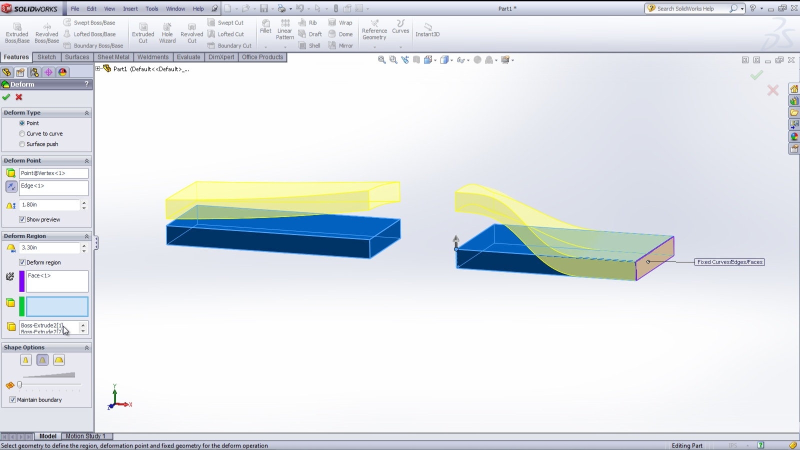 how to use deform feature solidworks
