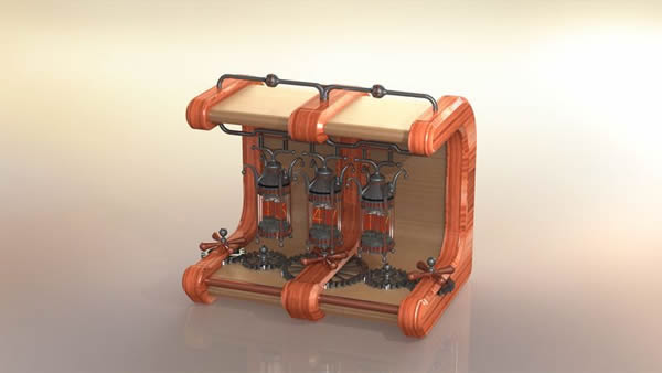 A Nixie tube clock made with SolidWorks