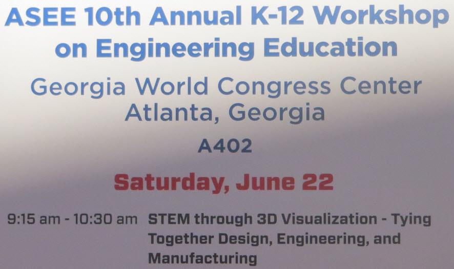 SolidWorks at ASEE K12 Teacher STEM Workshop in Atlanta