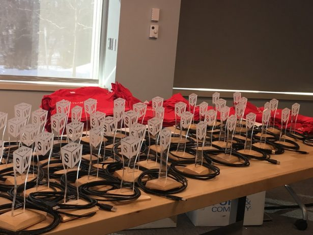 The finished Cubies at the SOLIDWORKS release party