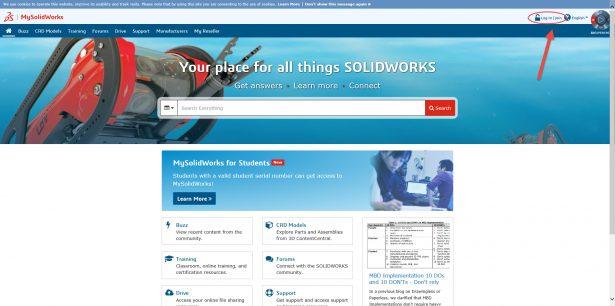 MySolidWorks home page emphasis on log in_join