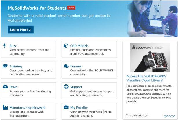 MySolidWorks home screen menu