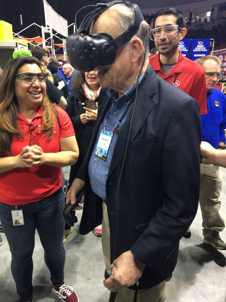 John Abele, FIRST's Vice-Chair, Chairman of the Development Committee, and retired Founding Chairman of Boston Scientific Corporation, enjoys Stormgears's VR.