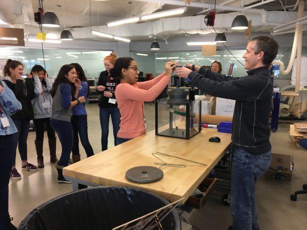 SOLIDWORKS Dana Hall Career Day. Testing coat hanger rod weights with John Sweeney