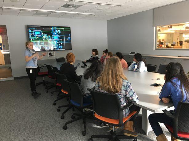 SOLIDWORKS Dana Hall Career Day. Megan Duane advises the students