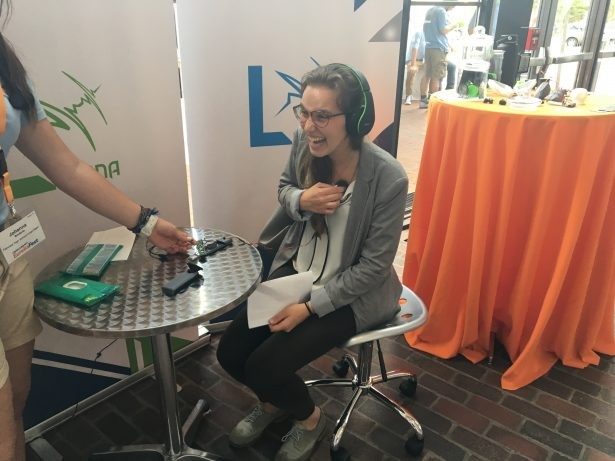 SOLIDWORKS intern Marta Puig listening to her own heartbeat