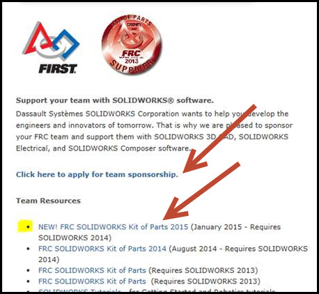 SolidWorks FIRST web page