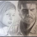 The Last of Us Joel and Ellie Pencil Sketch by Stephanie Planchard