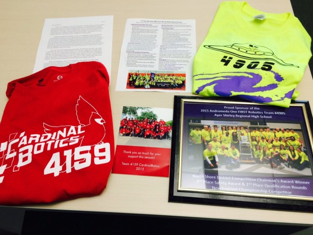Tshirts and Letters from FRC Teams