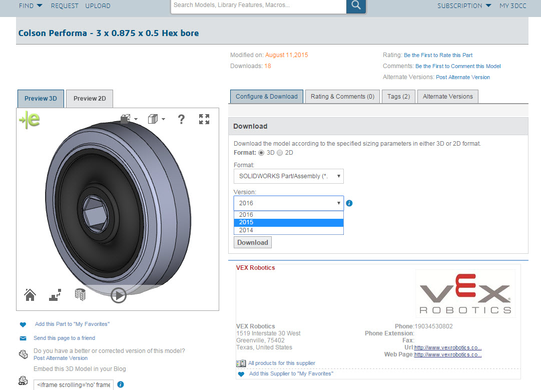 VEX ROBOTICS Certified Component Supplier on 3D ContentCentral